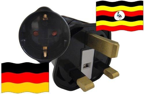 Urlaubs Reiseadapter Uganda für Geräte aus Deutschland Kindersicherung und Schutzkontakt 250V