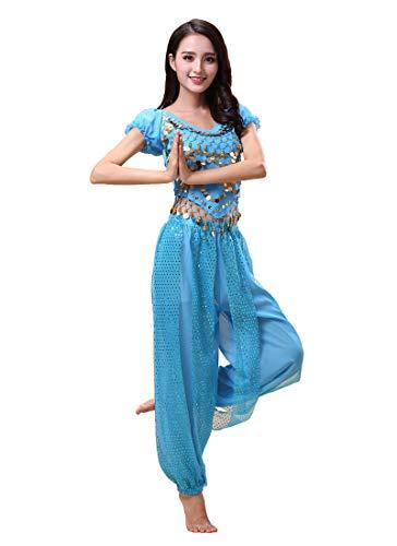 Grouptap Bollywood Indio bharatanatyam Danza del Vientre Azul Claro Traje de Disfraces de 2 Piezas para Mujer Bailarina Adulta (150-170cm, 30-60kg) (Azul Claro)