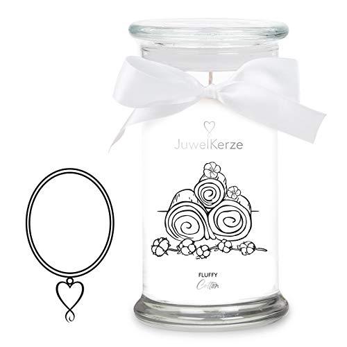 JuwelKerze 'Fluffy Cotton' (Halskette) Schmuckkerze große weiß Duftkerze 925 Sterling Silber - Kerze mit Schmucküberraschung als Geschenk für sie/ihn