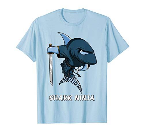 Tiburon Oceano Ninja Samurái Divertido Fantasía Niñas Niños Camiseta
