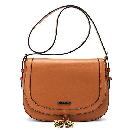 ECOSUSI Handtasche Umhängetasche Damen Schultertasche mit Verstellbarem Schultergurt Braun