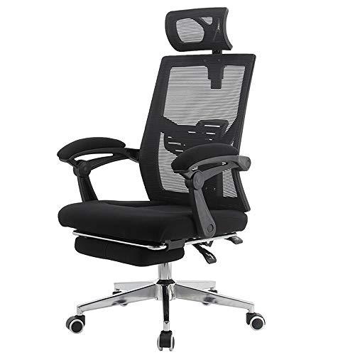 Chairs-S reclinable para oficina de alta capacidad de respaldo ergonómico de malla para computadora – Tarea giratoria de escritorio de oficina con reposapiés y soporte lumbar (negro S