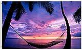 384 Bandera De La Casa Playa Verano Palmera Afterglow Holiday Tropical Hamaca Casa Colorida 90X150Cm Poliéster Vivo Bandera De La Yarda Bandera del Jardín Bienvenido Toda La Temporada