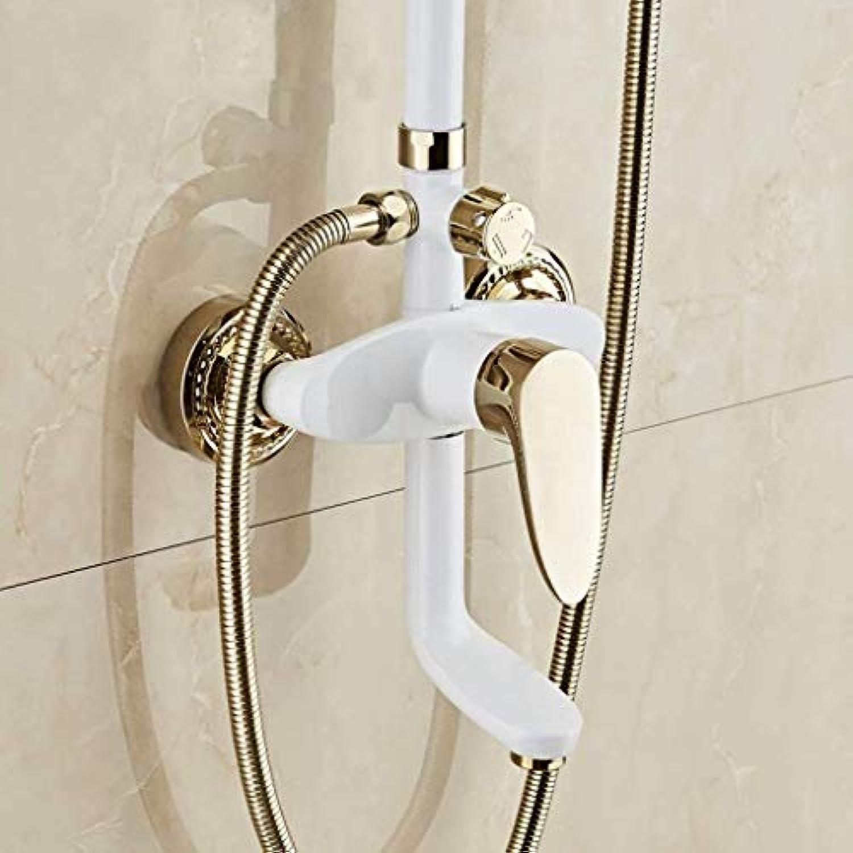 Badezimmer-Brausebatterie, Brausebatterie, Mode, Klassisch, Weie Farbe, Gold, Dusche, Zuhause, Multifunktion, Dusche, Brausebatterie