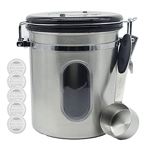 コーヒーキャニスター コーヒー豆 保存容器 密封容器 窓付き コーヒーメジャーカップとバルブ付き 日本語説明書付き (シルバー, 1500ml-窓付き)