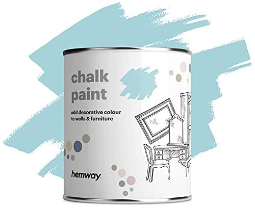Hemway Pintura de tiza con acabado mate para paredes y muebles, 1 litro, estilo Shabby Chic Vintage Chalky (36 colores disponibles) (1 L, 35 oz), color azul