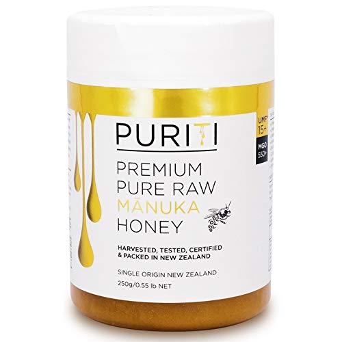 PURITI Manuka-Honig MGO 550+ 250g aus Neuseeland - zertifiziert, laborgeprüft, reines Naturprodukt, frei von Zusatzstoffen, Premium Qualität