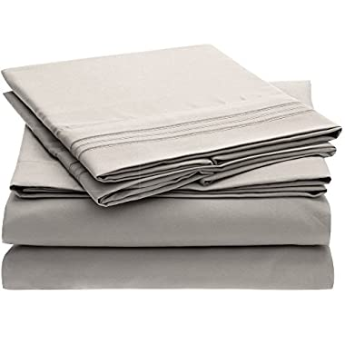 Ideal Linens Bed Sheet Set - 1800 Double Brushed Microfiber Bedding - 4 Piece (King, Light Gray)