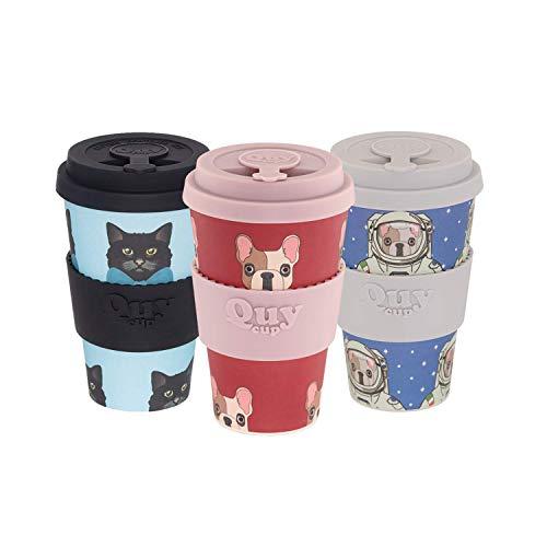 Quy Cup Taza de Café de Bambú -Set de 3. 400ml. Tazas Ecológicas Reutilizables Para Café. Exclusivo Diseño Italiano. Hecho de Fibras Naturales. Libre de BPA