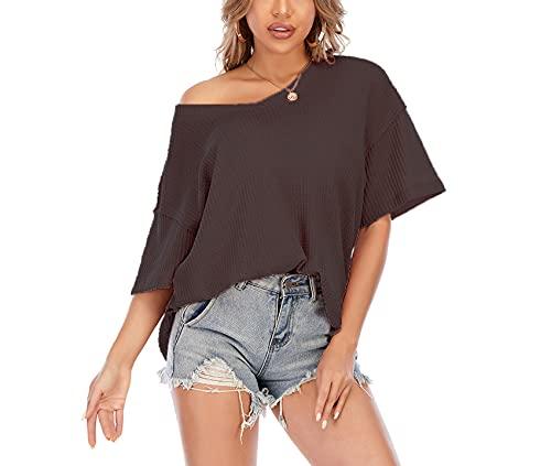 Primavera y Verano de Las Mujeres de Punto gofre con Cuello en V murciélago de Manga Corta Blusa Suelta Jersey Camiseta Casual