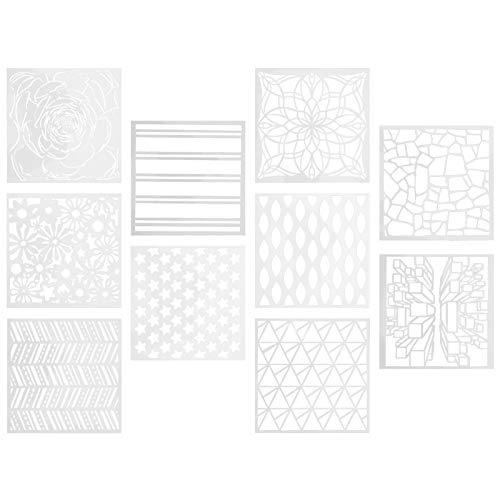 VORCOOL 10 Piezas Plantilla de Dibujo de Estrellas de Flores Plantilla de Dibujo Plantilla de Pintura de Madera Reutilizable Molde para Manualidades DIY Estilo Al Azar