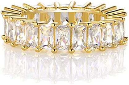 14K Gold Plated Ring Cubic Zirconia Emerald Cut Eternity Ring Band for Women men 10 product image