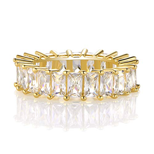 14K Gold Plated Ring Cubic Zirconia Emerald Cut Eternity Ring Band for Women men (6)