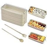 CENBEN Lunch Box Écologique,Lunch Box Japonais,3 Couches Boîte à Bento pour Micro-Ondes,avec Fourchette Cuillère Portable,pour Le Travail L'école Voyages10.3 * 8 * 18.5 cm(Vert Clair)