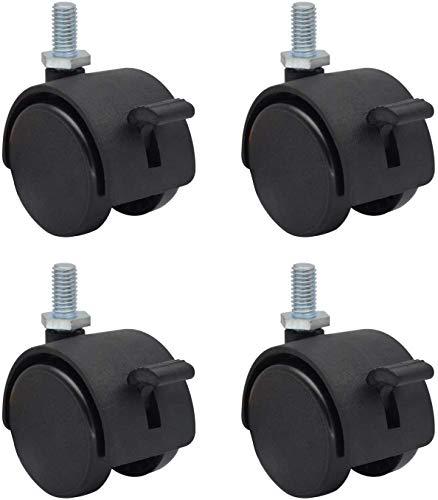 OK5STAR Paquete de 4 ruedas de repuesto de plástico de nailon de 5 cm para muebles y sillas de oficina, giratorias, vástago roscado métrico M8 x 15 mm (alrededor de 5/16' x 3/5') con freno