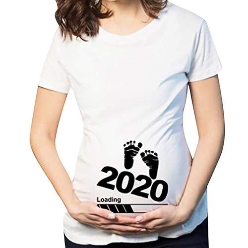 Luckycat Blusas Embarazada para Premamá, Camiseta de Maternidad de Manga Corto Top con Estampado de Linda Encantador Camiseta Divertida de la Maternidad premamá para Mujer Embarazo Lactancia T-Shirt