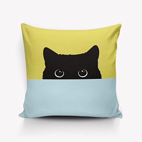 URDER Kussensloop hoezen/Euro Sham/Cushion Sham met rits, luxe linnen vierkante kussenslopen voor bank/bed/stoel Decor, Cartoon zwarte kat Staring