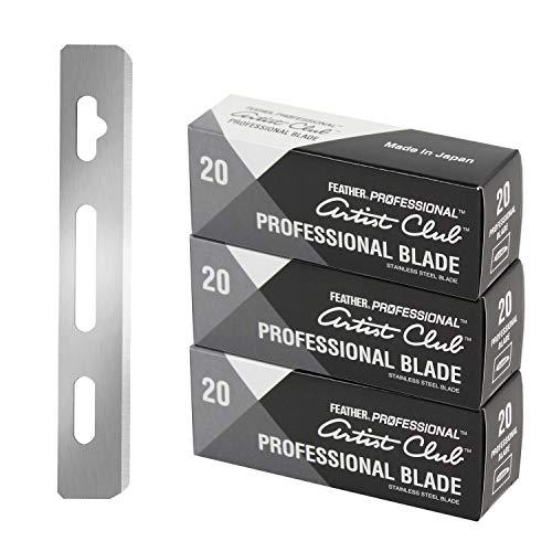 Feather Artist Club Professional Razor Blades - (3 Packs of 20) - Single Straight Edge Razor Blade Refills for Shaving - For Men & Barbers