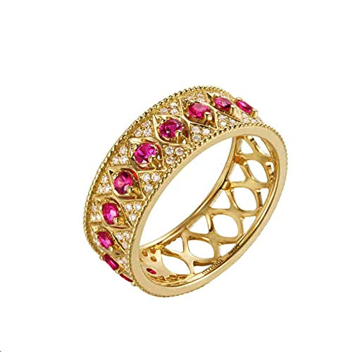 AmDxD Engagement Rings for Women Yellow Gold 18K, Band Ring 0.602CT Ruby Anniversary Bands for Her Engagement Rings Women Size V 1/2, Birthday Party Gift with Exquisite Box
