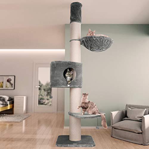 Happypet Kratzbaum XXL Extrem Stabil für Große Schwere Katzen, Maine Coon, Massive Ø17cm Stämme, Große Höhle, 600g Plüsch, Ø45cm Liegemulde, 275cm