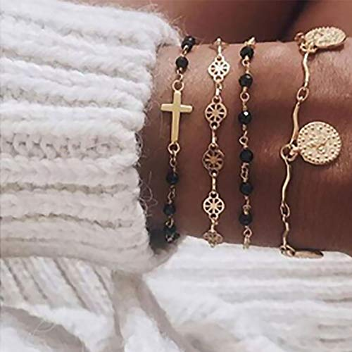 Edary 5 Stks Tassel Armband Set Goud Cross Armbanden Coin Accessoires Beaded Hand Chain Verstelbaar voor Vrouwen en Meisjes