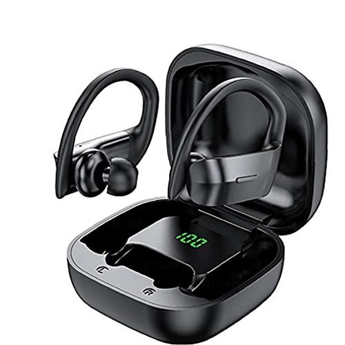 Naisedier Earbudos inalámbricos TWS, con Ganchos de Orejas LED Pantalla de música estéreo, Auriculares de Juego, asegurarse de una Calidad de Sonido Limpia Negra