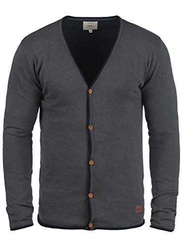 Redefined Rebel Maxen Herren Strickjacke Cardigan Feinstrick Mit V-Ausschnitt und Knopfleiste Aus 100% Baumwolle, Größe:XL, Farbe:Antracit Grey