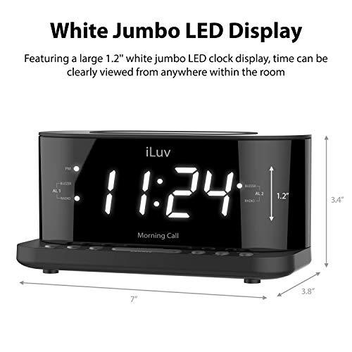 iLuv Morning Call 5 Qi-Certified Wireless Charging Bedside Digital Alarm Clock, 1.2 Jumbo LED Dual Alarm, FM Radio with 10 Presets, USB Charging Port, Sleep Timer, 3-Level Dimmer, Battery Backup