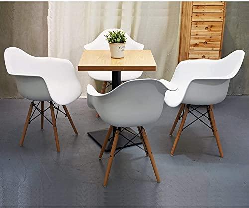 4er-Set, Esszimmerstühle Sessel, Buchenholzbeine, für Wohnzimmer Schlafzimmer Büroküche (Matt, Weiß: 4)