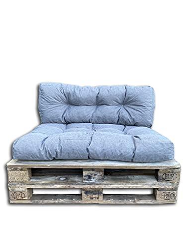 Cojines/colchón de paleta, sofá, sillón, asiento para paleta euro, asiento y respaldo (gris, cojín 120 x 40 cm)