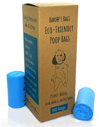 180 Biodegradable Poop Bags for Dogs, Cornstarch-Based Home Compostable Pet Waste Bags, Eco-Friendly Cat Litter Bags Refill, ASTM D6400 EN13432 Certified