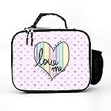 AXGM Bolsa isotérmica con diseño de arcoíris y corazones, color rosa, para el almuerzo, para picnic, actividades familiares, color blanco, talla única