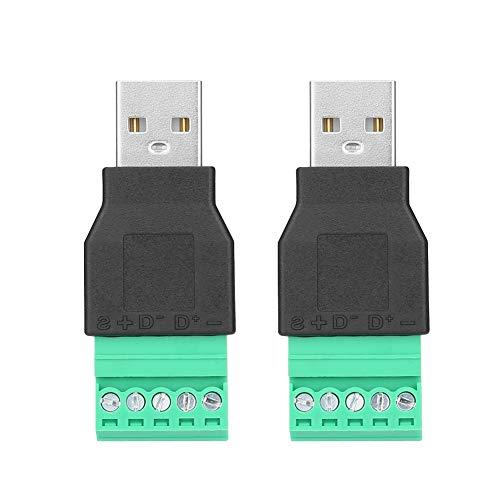 Conector de terminal USB de 2 piezas, conector macho USB a adaptador de enchufe de terminal de tornillo de 5 pines convertidor de Connetor