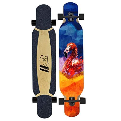 LQH 40 Zoll x 9 Zoll Komplett Drop Down Durch Deck Longboard Skateboard 7 Schichten Ahornholz for Cruising, Skulptur, Kür, Downhill und Tanzen