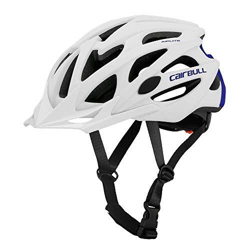 Cairbull AIRLITE Casco de Bicicleta para Hombres y Mujeres Casco de MTB Casco Deportivo recreativo con Red para Insectos, Casco de Bicicleta de Carreras de ala Larga (Blanco Azul, M)