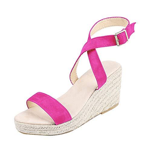 Sandalias de mujer de Shujin, cómodas y con plataforma, con correa para el tobillo, con hebilla, con cuña, para verano, playa