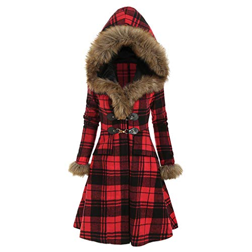 vermers Women Coats Winter, Womens Warm Plaid Print Long Coat Fur Collar Hooded Jacket Slim Parka Outwear with Buckle(2,Z-Plaid Print Buckle Red)