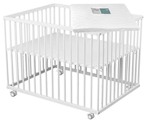 Sämann Parque infantil Basic 75 x 100 cm con colchón blanco, altura regulable, madera de haya (75 x 100 cm, con colchón), color blanco