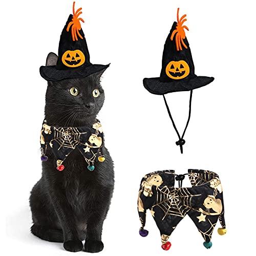 Katze Halloween Kostüm Anzug Halloween Katze Kragen mit Schädel Muster Net Glocken Kürbis Hut für Katzen Hunde