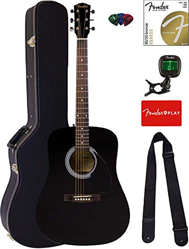 Fender FA-115 Dreadnought Acoustic Guitar Bundle with Hard Case, Tuner, Strings, Strap, and Picks - Black