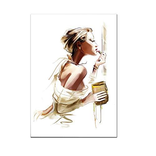 Cuadro en lienzo impresión Cartel de moda Chica Maquillaje Planta Arte Arte de la pared Imágenes para la sala Decoración moderna 30x50 cm / 11.8