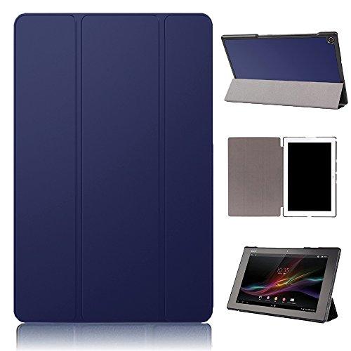 PauTion Sony Xperia Z2 tablet ケース Xperia Z2 tablet カバー 三つ折スタンド スマートカバー 傷つけ防 PUレザー (Sony Xperia Z2 tablet, ブルー)