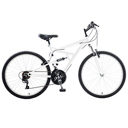 Cycle Force Dual Suspension Mountain Bike, 26 inch wheels, 18 inch frame, Men's Bike, White