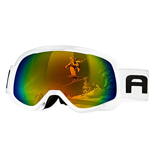 AKASO Ski Goggles, Snow Goggles for Youth, Kids & Teenagers, Snowboard Goggles with Anti-Slip Strap, Anti-Fog, Dual Layers Spherical Lens, UV 100% Protection