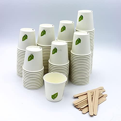 100 Vasos Carton Desechables para Café Espresso 120 ml con Agitadores de Madera para Café para Llevar