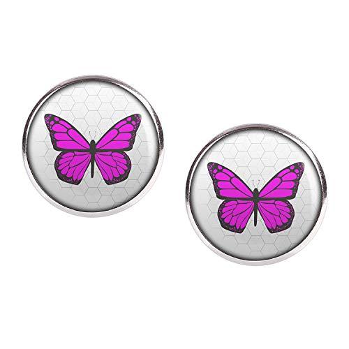 Mylery Ohrstecker Paar mit Motiv Schmetterling Violett Lila Pink Rosa silber 16mm