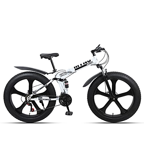 WLWLEO Bicicleta de montaña Fat Tire, Bicicleta de montaña Plegable de 26 Pulgadas 21/24/27 velocidades, Marco de Acero al Carbono, Bicicleta Antideslizante para Nieve para Adultos,Blanco,24 Speed
