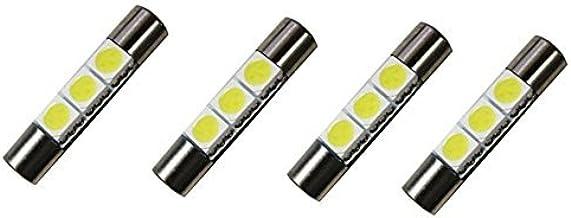 """Cutequeen Trading 4pcs LED Mirror Fuse Sun Visor 6641 White 30mm(1.23"""") 5050 3-SMD 12V Festoon Dome Light LED Bulbs (pack of 4)"""
