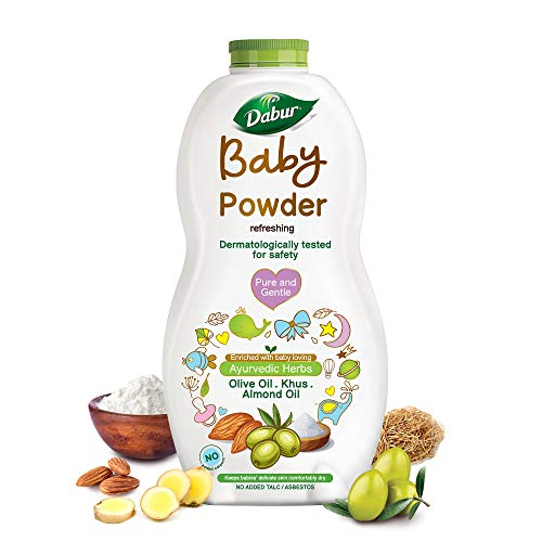 Dabur Baby Powder: No added Talc and Asbestos | Contains Oat Starch , Arrowroot Powder & Amba Haldi |Hypoallergenic & Dermatologically Tested with No Paraben & Phthalates - 300 g