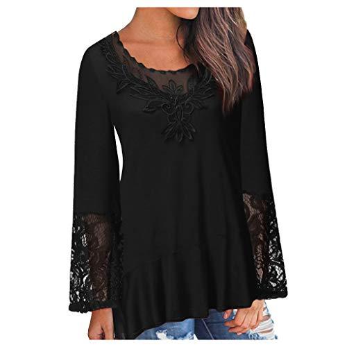 ESAILQ Damen Frauen Casual Kurzarm Stretch Falten Tunika Bluse Sommer Obteile mit Knöpfen V-Ausschnitt Ladies Shirt mit Gummizug Am Saum(XXL,Schwarz)